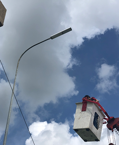 outdoor LED lighting installation